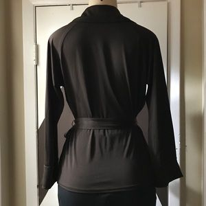 Anne Klein dark brown faux wrap belted large top.